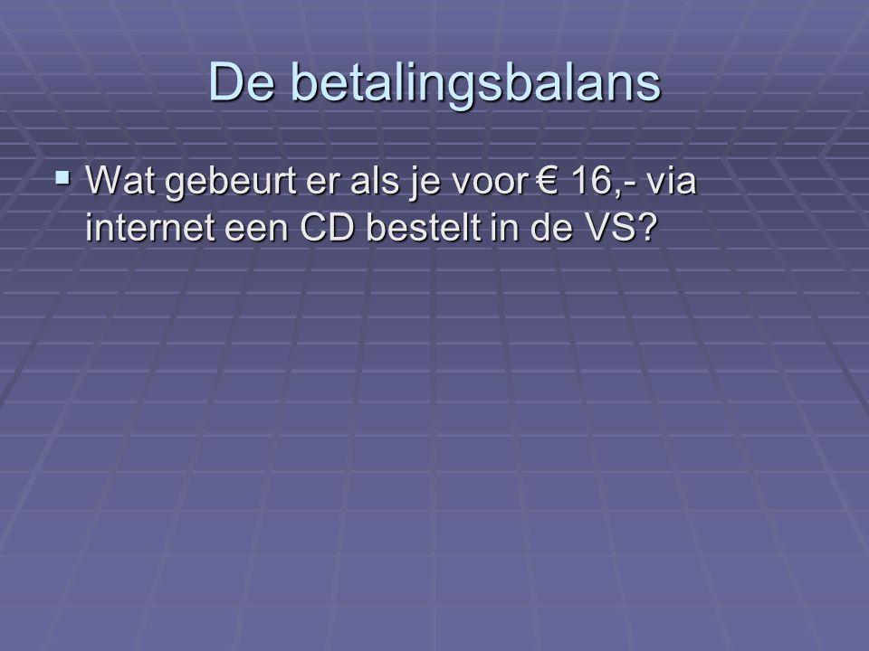 De betalingsbalans Wat gebeurt er als je voor € 16,- via internet een CD bestelt in de VS