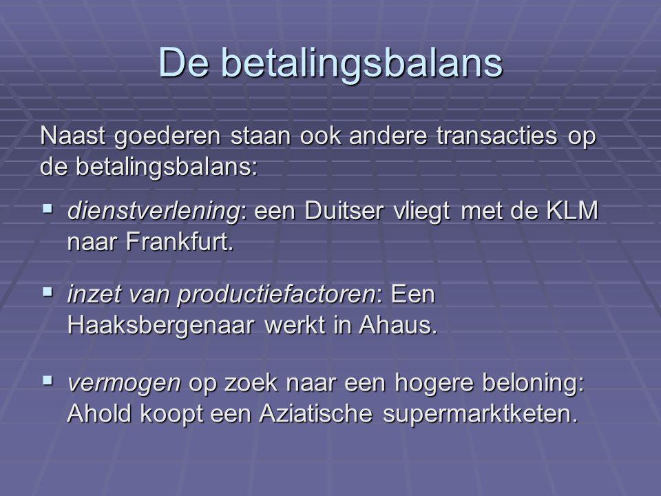 De betalingsbalans Naast goederen staan ook andere transacties op de betalingsbalans:
