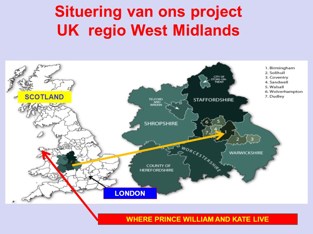 Situering van ons project UK regio West Midlands