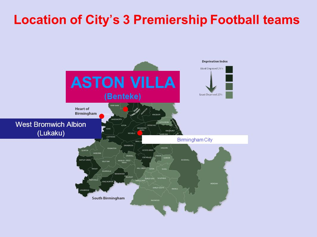 Location of City's 3 Premiership Football teams