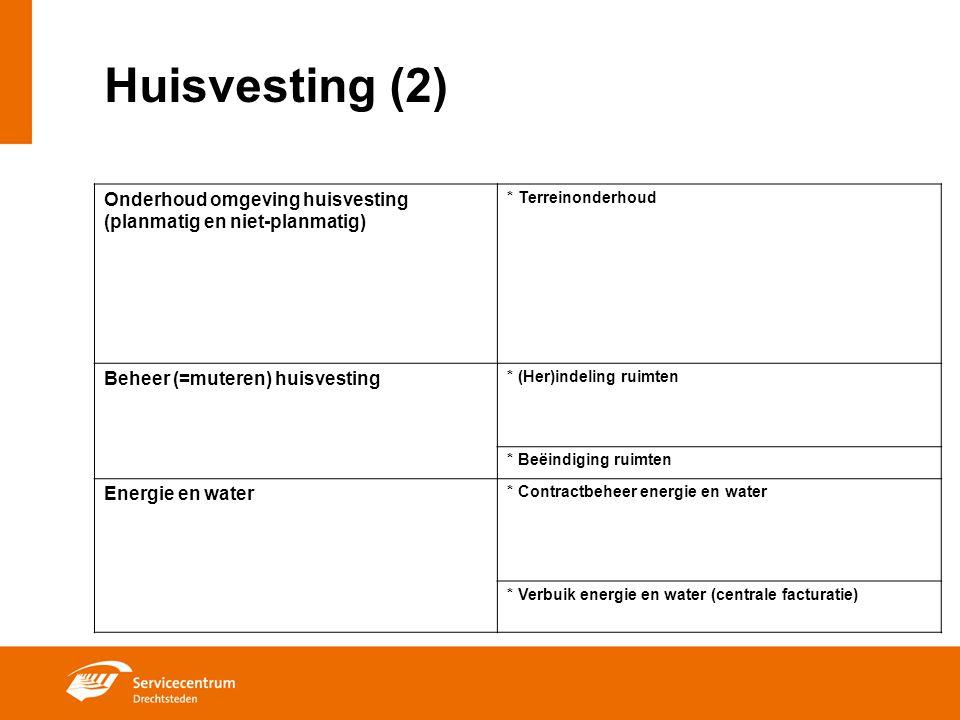 Huisvesting (2) Onderhoud omgeving huisvesting (planmatig en niet-planmatig) * Terreinonderhoud. Beheer (=muteren) huisvesting.