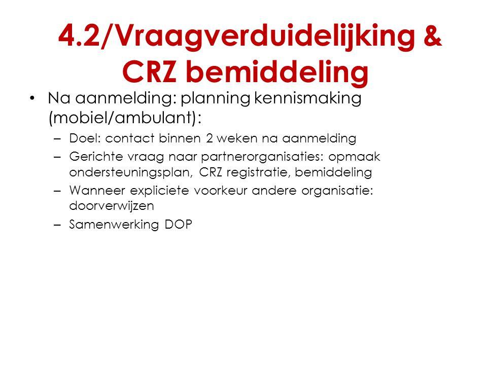 4.2/Vraagverduidelijking & CRZ bemiddeling