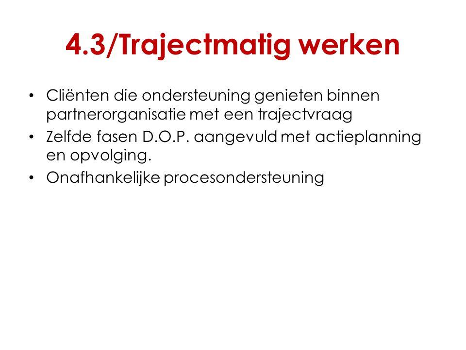 4.3/Trajectmatig werken Cliënten die ondersteuning genieten binnen partnerorganisatie met een trajectvraag.