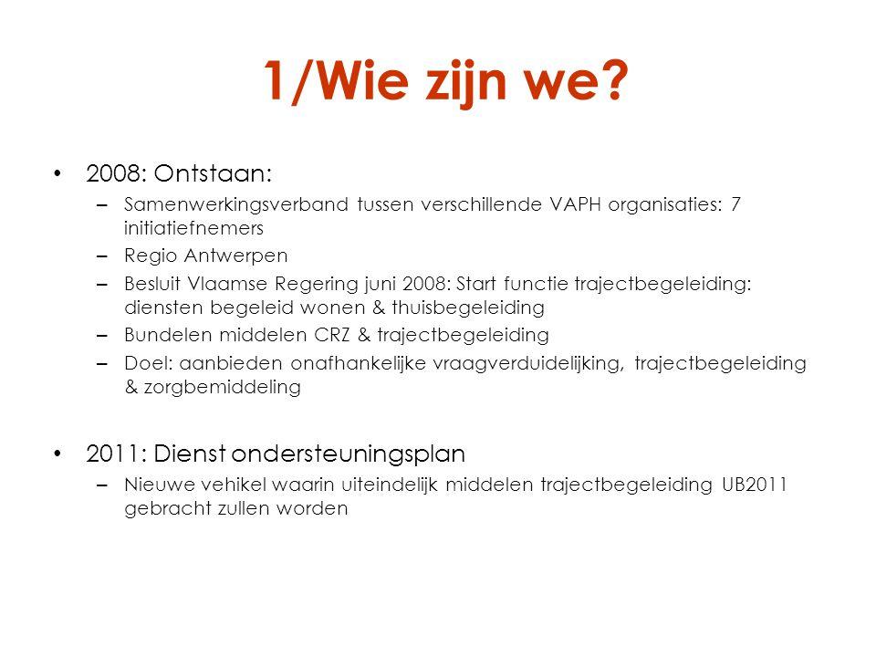 1/Wie zijn we 2008: Ontstaan: 2011: Dienst ondersteuningsplan