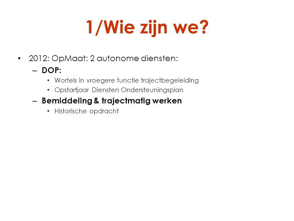 1/Wie zijn we 2012: OpMaat: 2 autonome diensten: DOP: