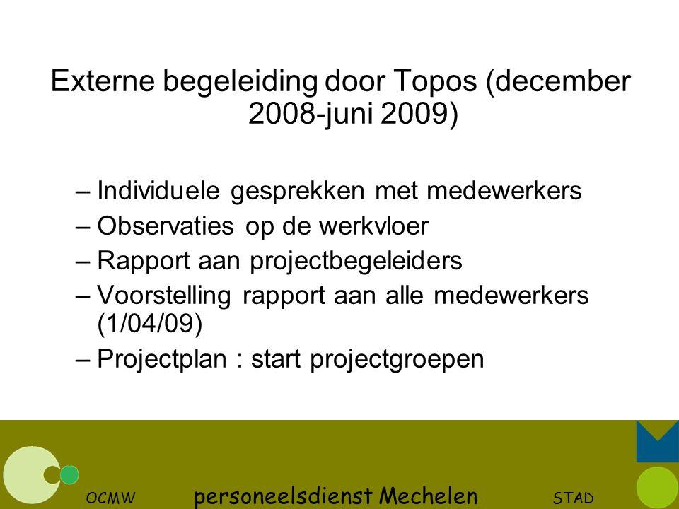 Externe begeleiding door Topos (december 2008-juni 2009)