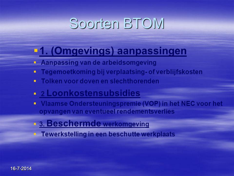 Soorten BTOM 1. (Omgevings) aanpassingen