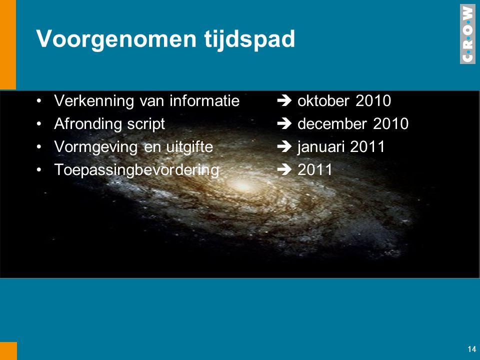 Voorgenomen tijdspad Verkenning van informatie  oktober 2010