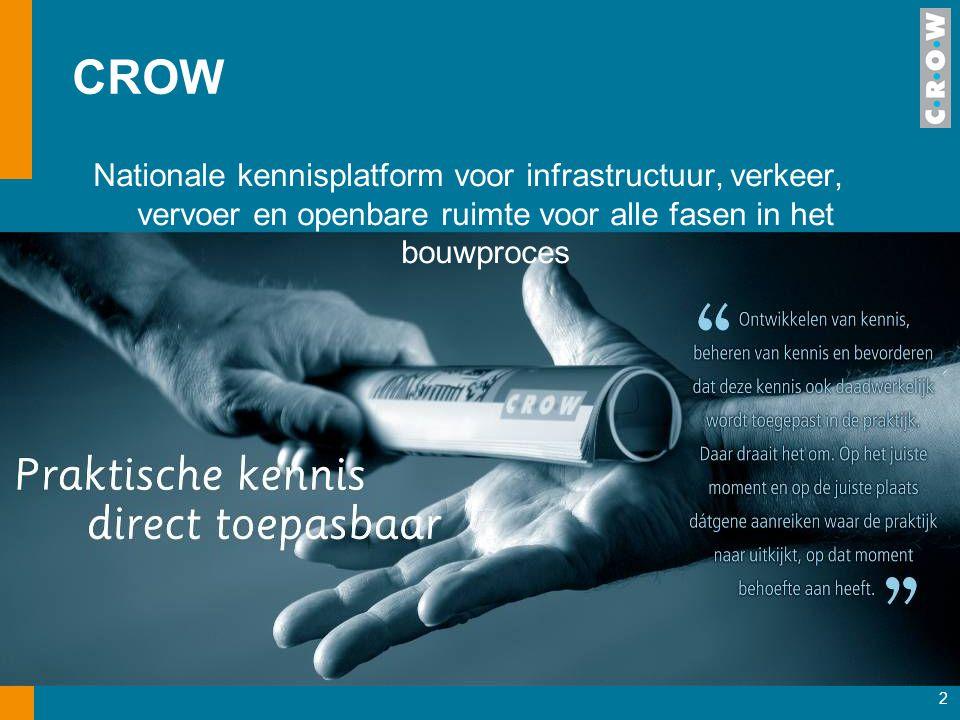 CROW Nationale kennisplatform voor infrastructuur, verkeer, vervoer en openbare ruimte voor alle fasen in het bouwproces.