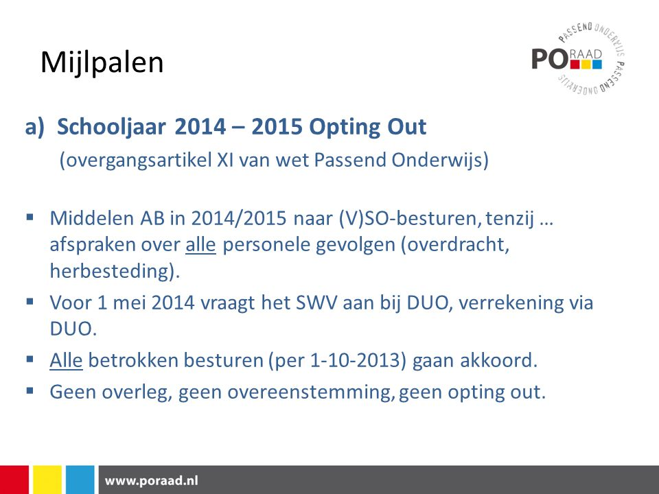 Mijlpalen a) Schooljaar 2014 – 2015 Opting Out