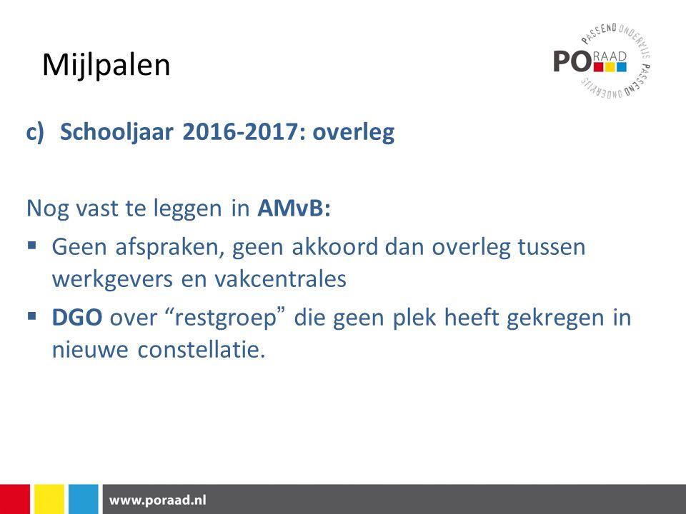 Mijlpalen c) Schooljaar 2016-2017: overleg Nog vast te leggen in AMvB: