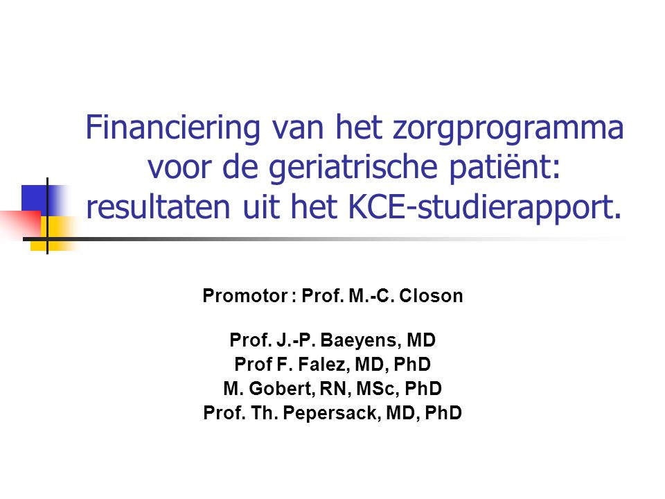 Promotor : Prof. M.-C. Closon Prof. Th. Pepersack, MD, PhD