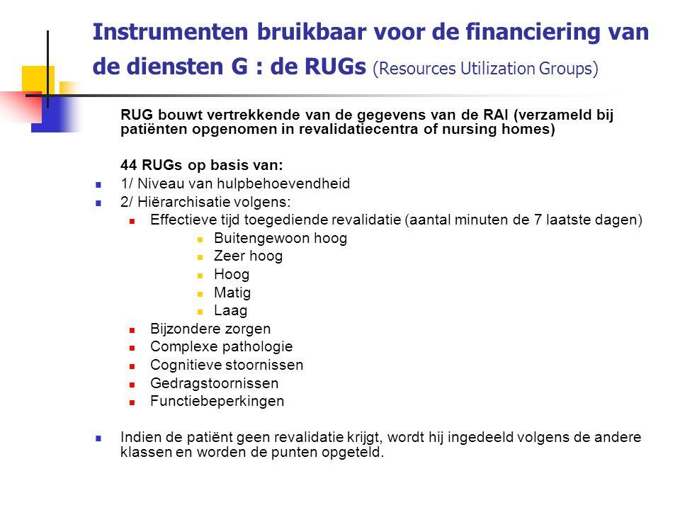 Instrumenten bruikbaar voor de financiering van de diensten G : de RUGs (Resources Utilization Groups)