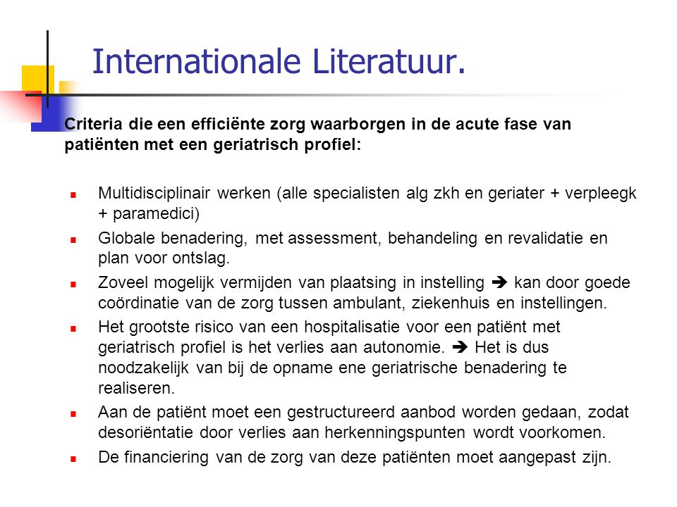 Internationale Literatuur.