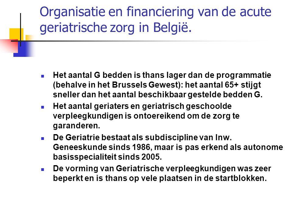 Organisatie en financiering van de acute geriatrische zorg in België.
