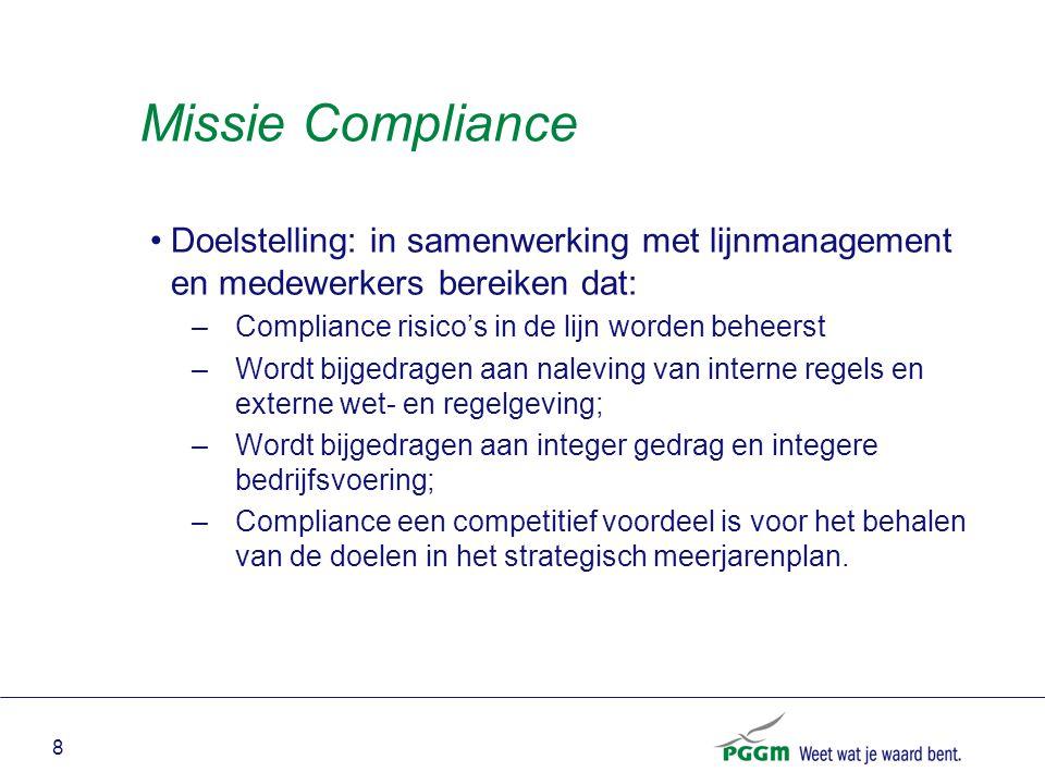 Missie Compliance Doelstelling: in samenwerking met lijnmanagement en medewerkers bereiken dat: Compliance risico's in de lijn worden beheerst.