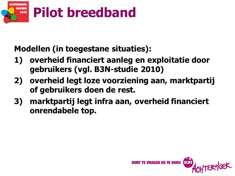 Pilot breedband Modellen (in toegestane situaties):