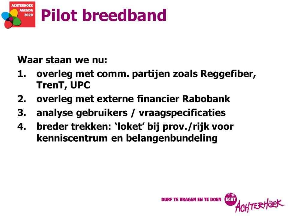 Pilot breedband Waar staan we nu: