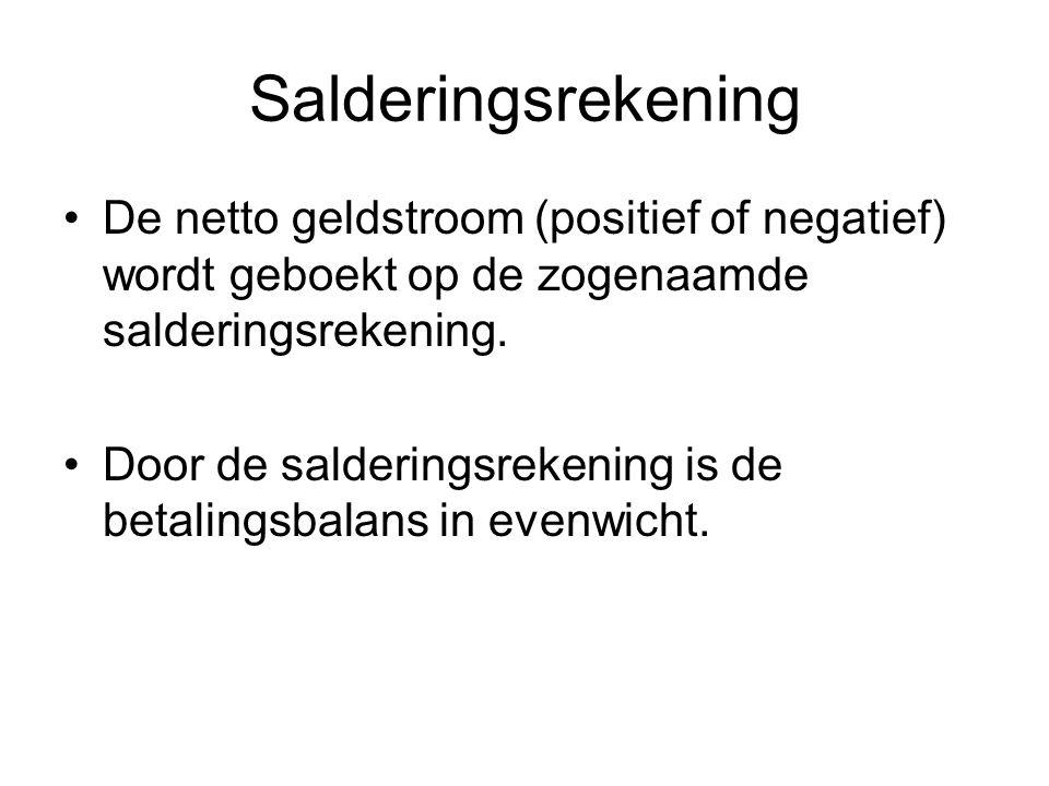 Salderingsrekening De netto geldstroom (positief of negatief) wordt geboekt op de zogenaamde salderingsrekening.