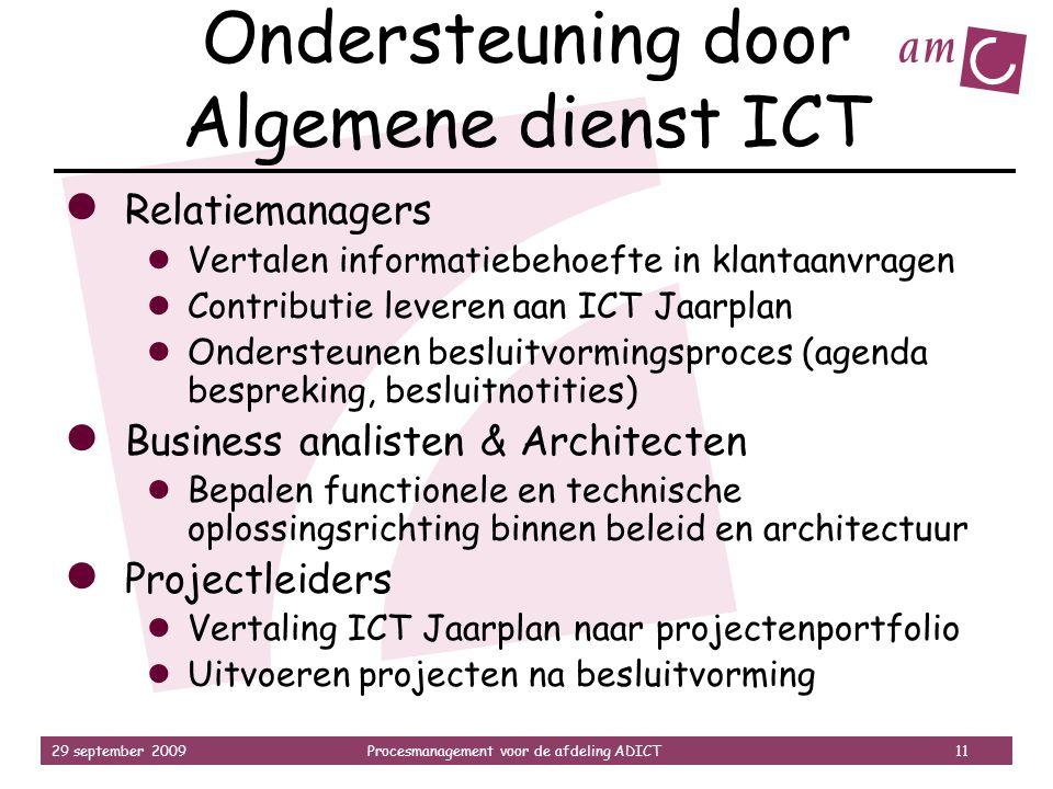 Ondersteuning door Algemene dienst ICT