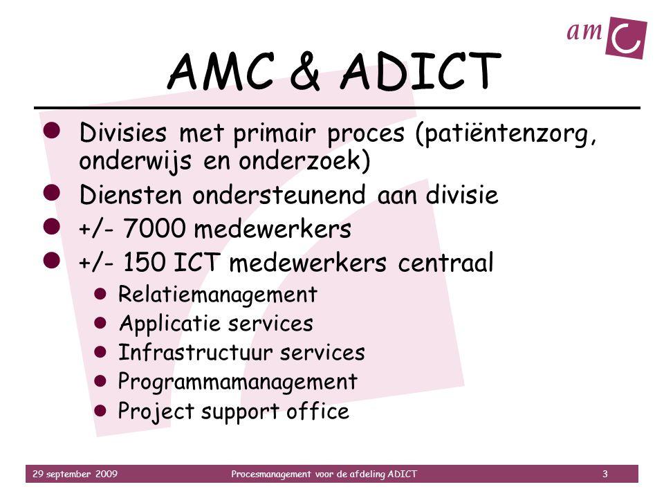 AMC & ADICT Divisies met primair proces (patiëntenzorg, onderwijs en onderzoek) Diensten ondersteunend aan divisie.