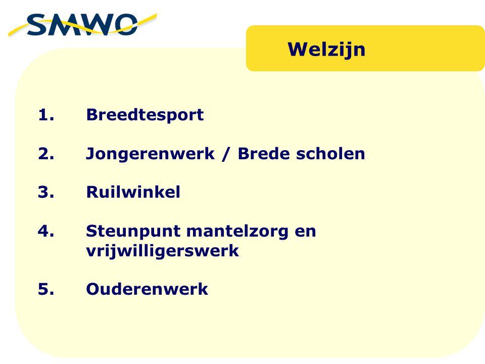 Welzijn 1. Breedtesport 2. Jongerenwerk / Brede scholen 3. Ruilwinkel 4. Steunpunt mantelzorg en vrijwilligerswerk 5. Ouderenwerk.