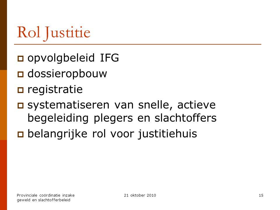 Rol Justitie opvolgbeleid IFG dossieropbouw registratie