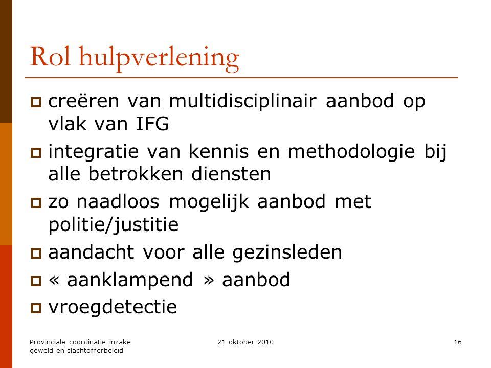 Rol hulpverlening creëren van multidisciplinair aanbod op vlak van IFG