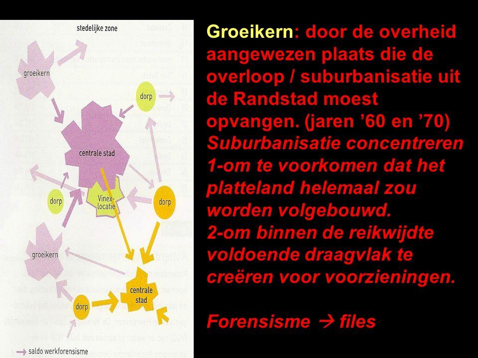 Groeikern: door de overheid aangewezen plaats die de overloop / suburbanisatie uit de Randstad moest opvangen. (jaren '60 en '70)
