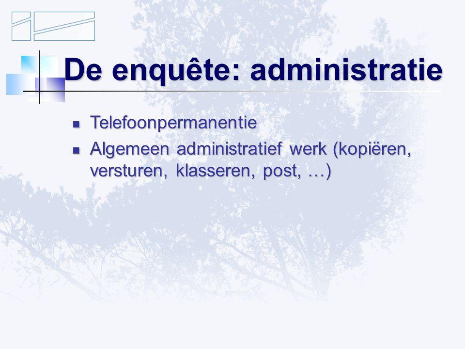 De enquête: administratie