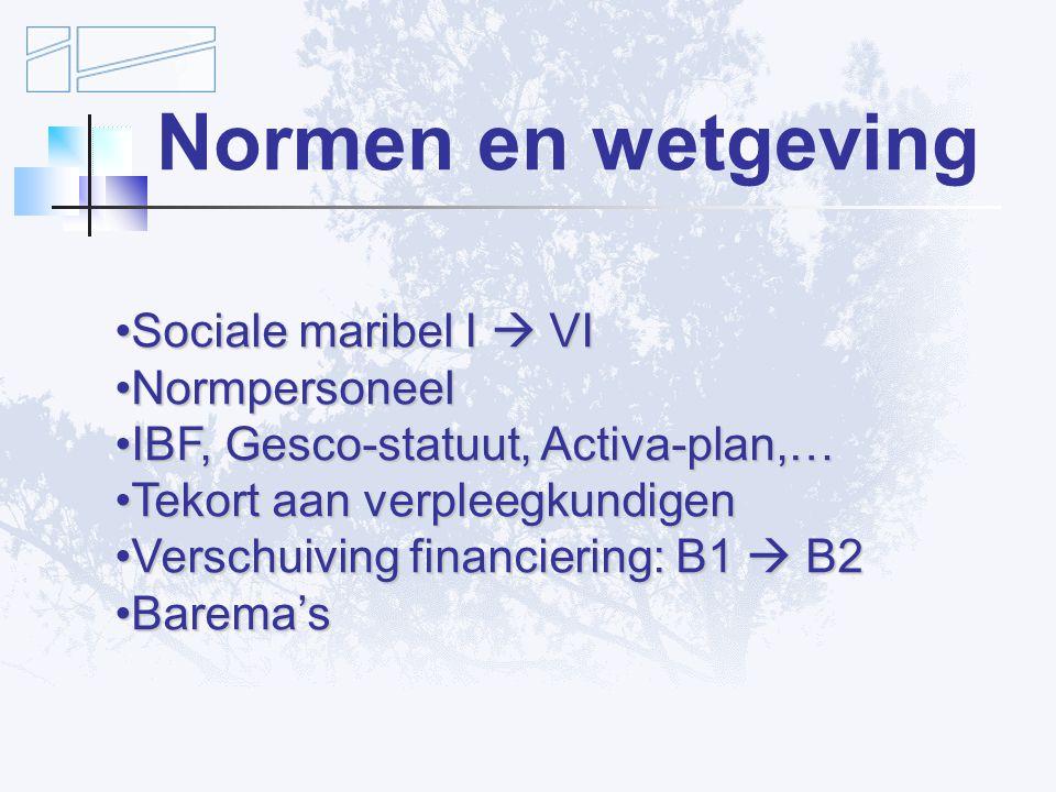 Normen en wetgeving Sociale maribel I  VI Normpersoneel