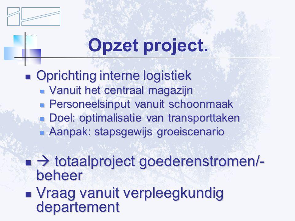 Opzet project.  totaalproject goederenstromen/-beheer