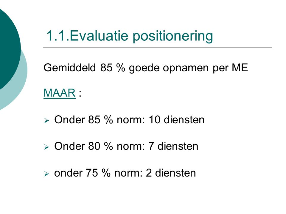1.1.Evaluatie positionering