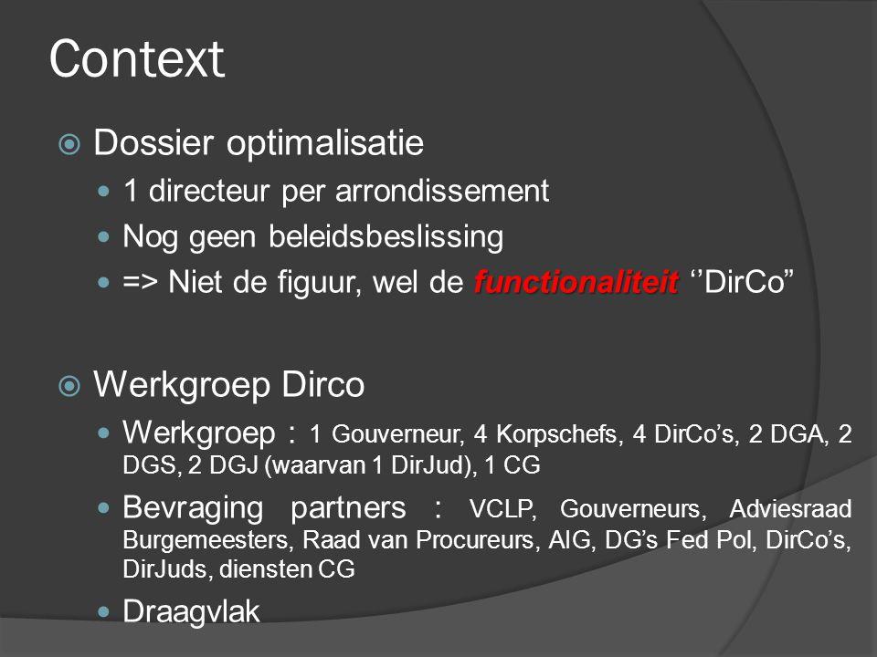 Context Dossier optimalisatie Werkgroep Dirco