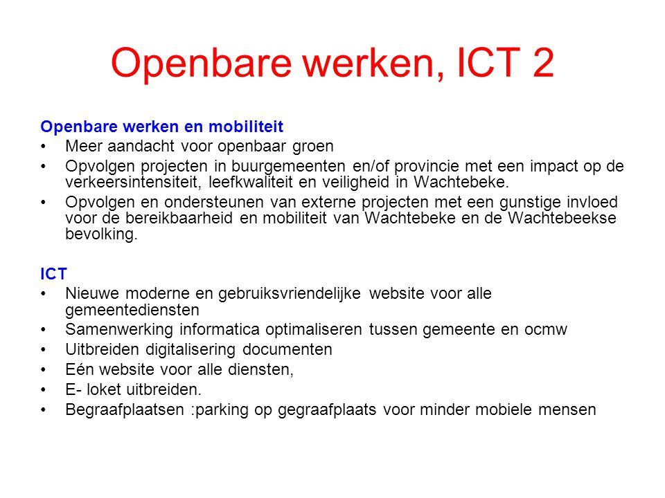 Openbare werken, ICT 2 Openbare werken en mobiliteit