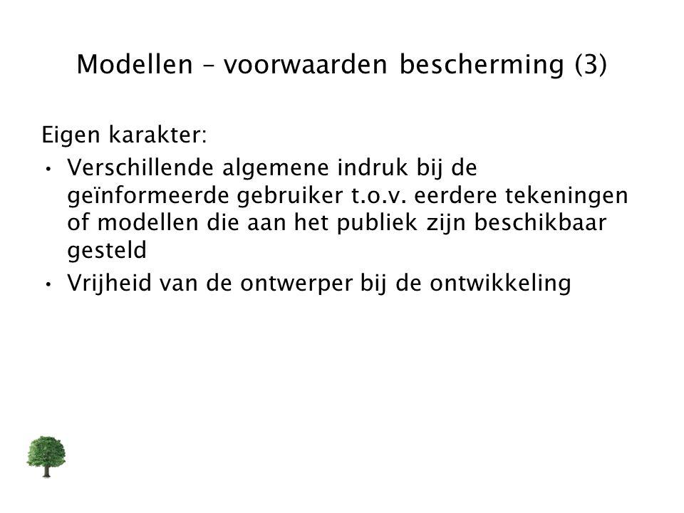 Modellen – voorwaarden bescherming (3)