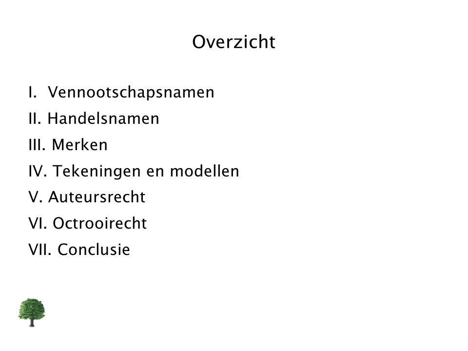 Overzicht I. Vennootschapsnamen II. Handelsnamen III. Merken