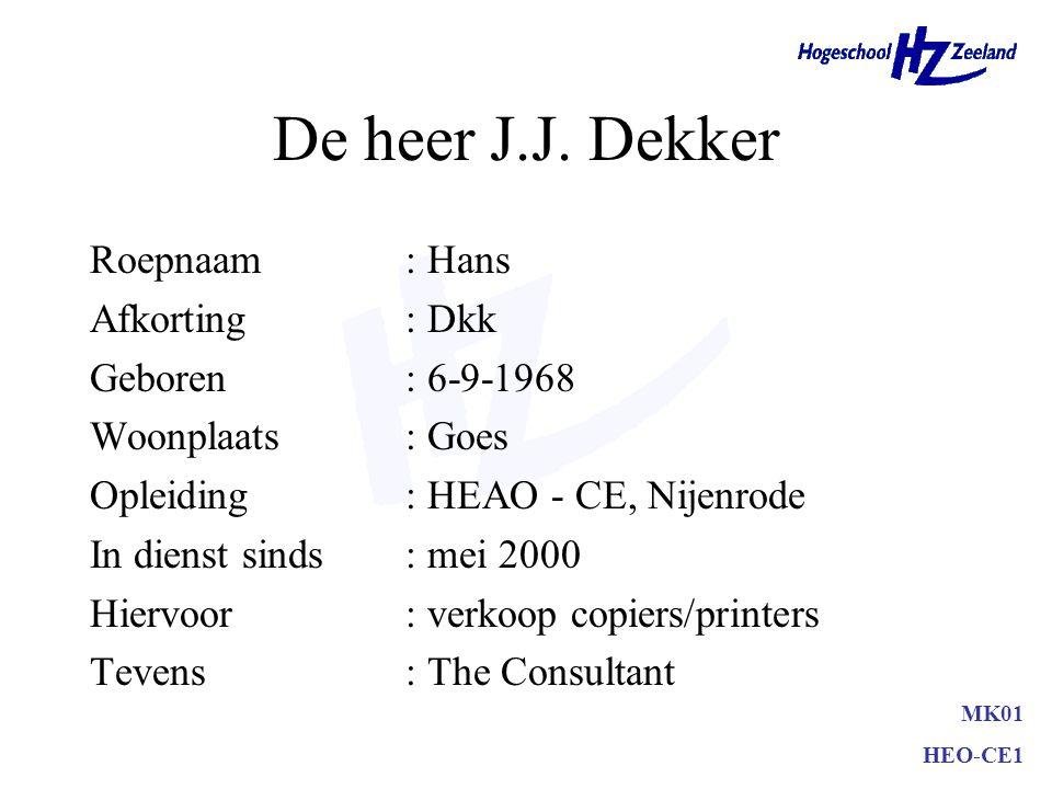 De heer J.J. Dekker Roepnaam : Hans Afkorting : Dkk Geboren : 6-9-1968