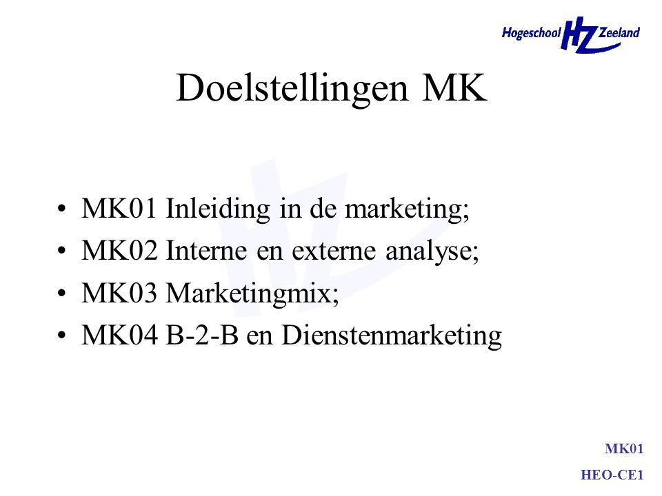Doelstellingen MK MK01 Inleiding in de marketing;