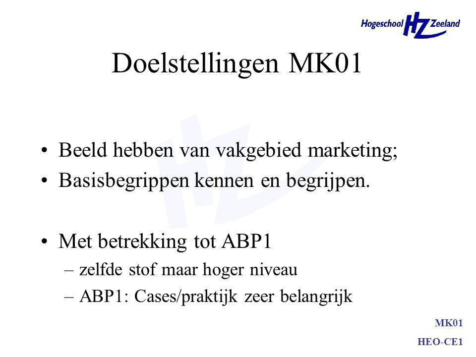 Doelstellingen MK01 Beeld hebben van vakgebied marketing;