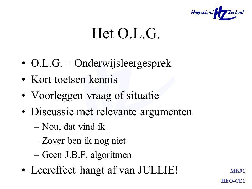 Het O.L.G. O.L.G. = Onderwijsleergesprek Kort toetsen kennis