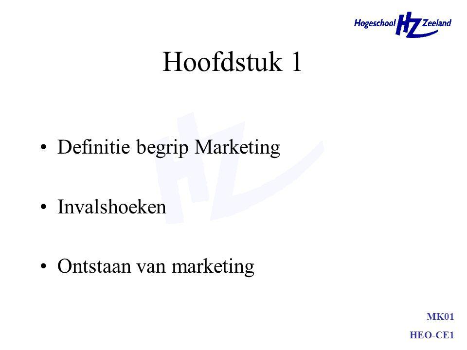 Hoofdstuk 1 Definitie begrip Marketing Invalshoeken