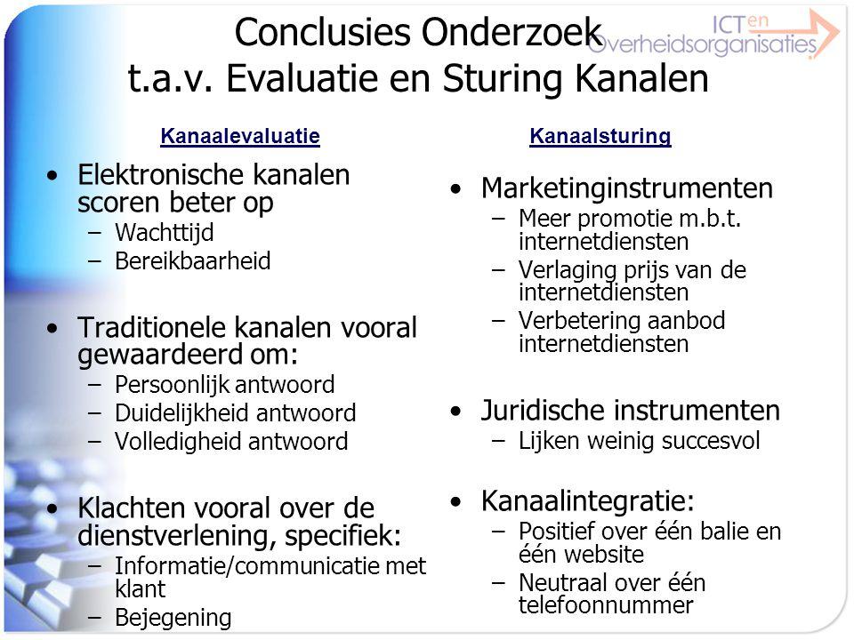 Conclusies Onderzoek t.a.v. Evaluatie en Sturing Kanalen