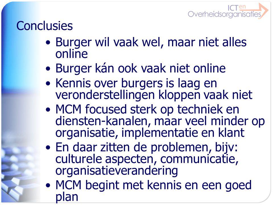 Conclusies Burger wil vaak wel, maar niet alles online. Burger kán ook vaak niet online.