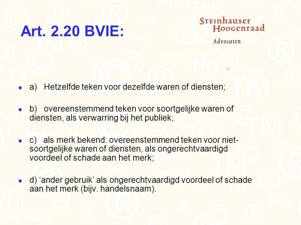 Art. 2.20 BVIE: a) Hetzelfde teken voor dezelfde waren of diensten;