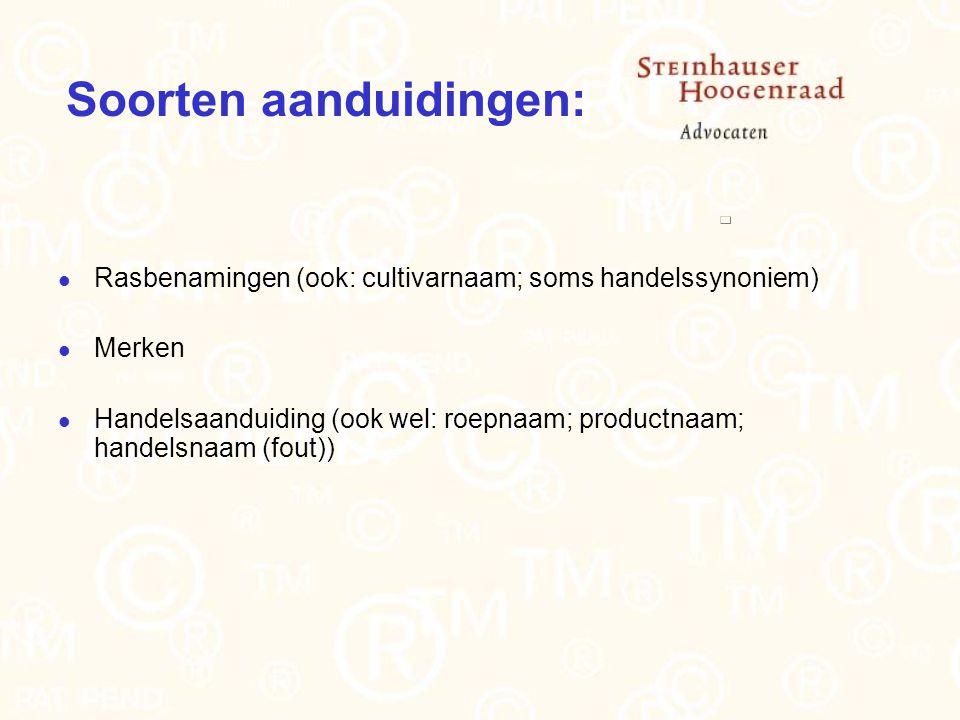 Soorten aanduidingen: