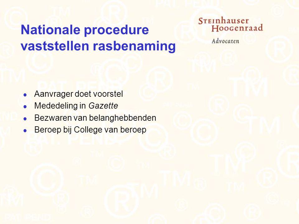 Nationale procedure vaststellen rasbenaming