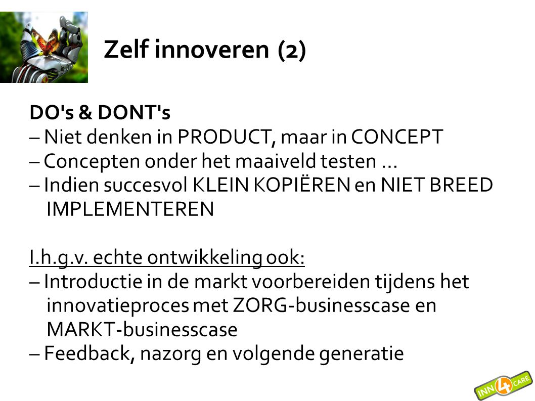 Zelf innoveren (2) DO s & DONT s