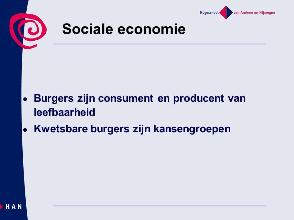 Sociale economie Burgers zijn consument en producent van leefbaarheid