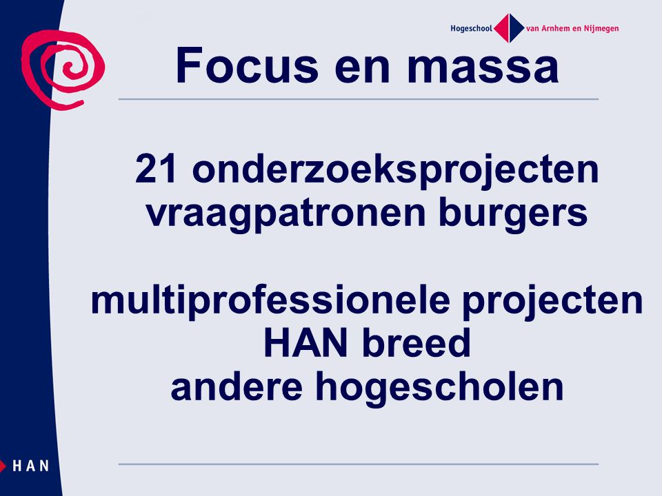 Focus en massa 21 onderzoeksprojecten vraagpatronen burgers multiprofessionele projecten HAN breed andere hogescholen